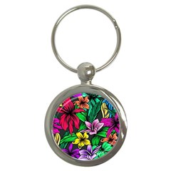 Neon Hibiscus Key Chains (round)