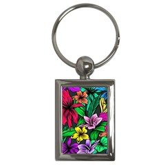 Neon Hibiscus Key Chains (rectangle)