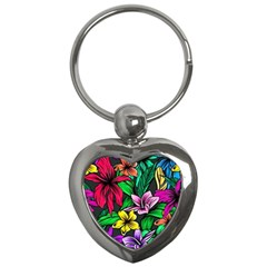Neon Hibiscus Key Chains (heart)