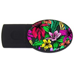 Neon Hibiscus Usb Flash Drive Oval (2 Gb)