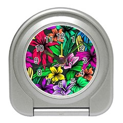 Neon Hibiscus Travel Alarm Clock