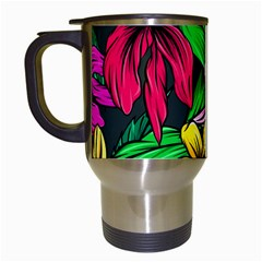 Neon Hibiscus Travel Mugs (white)