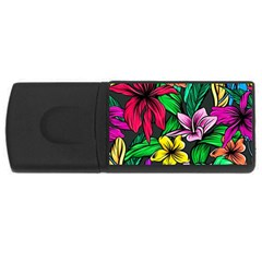 Neon Hibiscus Rectangular Usb Flash Drive