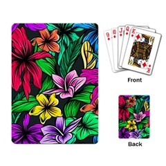 Neon Hibiscus Playing Cards Single Design