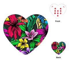 Neon Hibiscus Playing Cards (heart)