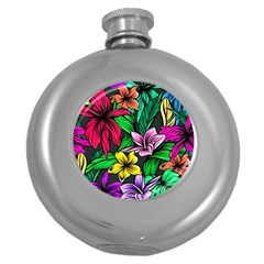 Neon Hibiscus Round Hip Flask (5 Oz)