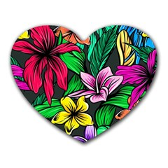 Neon Hibiscus Heart Mousepads