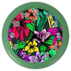 Neon Hibiscus Color Wall Clock