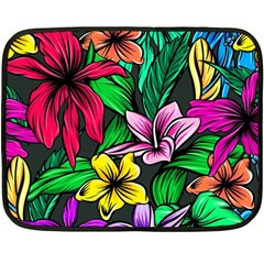 Neon Hibiscus Double Sided Fleece Blanket (mini)