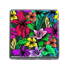 Neon Hibiscus Memory Card Reader (square 5 Slot)