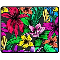 Neon Hibiscus Fleece Blanket (medium)