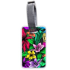 Neon Hibiscus Luggage Tags (two Sides)