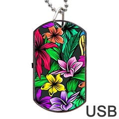 Neon Hibiscus Dog Tag Usb Flash (one Side)