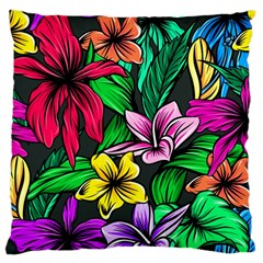 Neon Hibiscus Large Cushion Case (one Side)