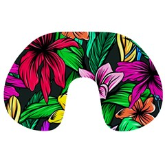 Neon Hibiscus Travel Neck Pillows