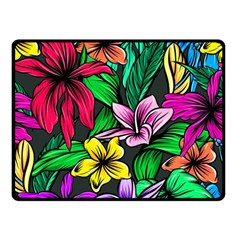 Neon Hibiscus Double Sided Fleece Blanket (small)