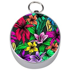 Neon Hibiscus Silver Compasses