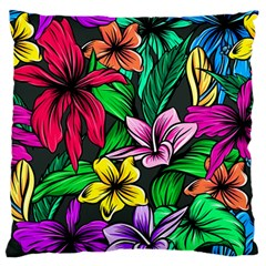 Neon Hibiscus Large Flano Cushion Case (one Side)