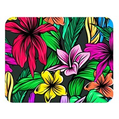 Neon Hibiscus Double Sided Flano Blanket (large)