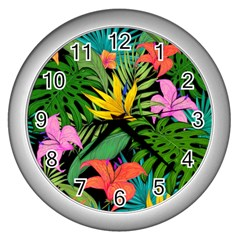 Tropical Adventure Wall Clock (silver)