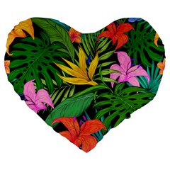 Tropical Adventure Large 19  Premium Heart Shape Cushions