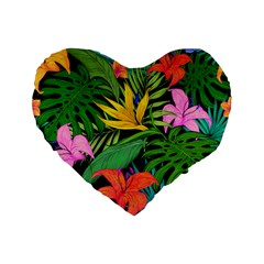 Tropical Adventure Standard 16  Premium Flano Heart Shape Cushions