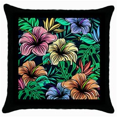 Hibiscus Dream Throw Pillow Case (black)