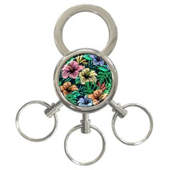 Hibiscus Dream 3 Ring Key Chains