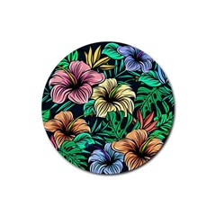 Hibiscus Dream Rubber Round Coaster (4 Pack)