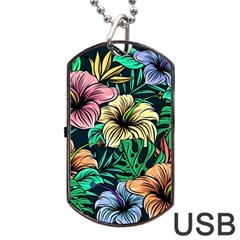 Hibiscus Dream Dog Tag Usb Flash (two Sides)