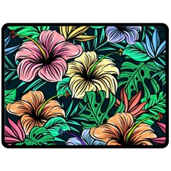 Hibiscus Dream Double Sided Fleece Blanket (large)