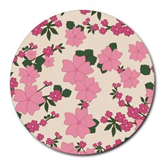 Floral Vintage Flowers Wallpaper Round Mousepads