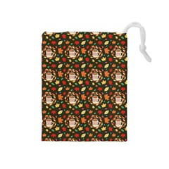 Tea Cup Leaf Leaves Drawstring Pouch (medium)
