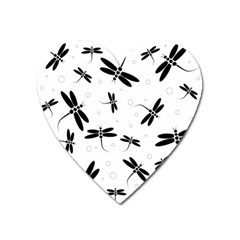 Dragonflies Pattern Heart Magnet by Valentinaart