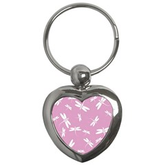 Dragonflies Pattern Key Chains (heart)  by Valentinaart