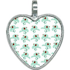 Squidward In Repose Pattern Heart Necklace