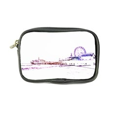 Pink And Purple Santa Monica Pier Silhouette Coin Purse by pier