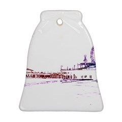 Pink And Purple Santa Monica Pier Silhouette Bell Ornament (two Sides) by pier