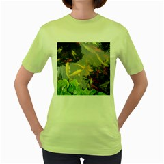 Koi Fish Pond Women s Green T Shirt
