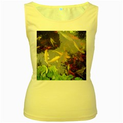 Koi Fish Pond Women s Yellow Tank Top