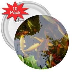 Koi Fish Pond 3  Buttons (10 Pack)