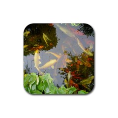 Koi Fish Pond Rubber Coaster (square)