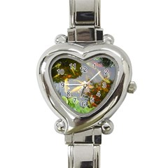 Koi Fish Pond Heart Italian Charm Watch