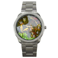 Koi Fish Pond Sport Metal Watch
