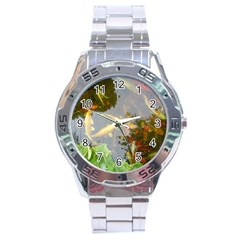 Koi Fish Pond Stainless Steel Analogue Watch