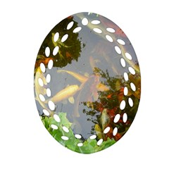 Koi Fish Pond Oval Filigree Ornament (two Sides)