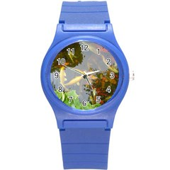 Koi Fish Pond Round Plastic Sport Watch (s)