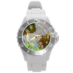 Koi Fish Pond Round Plastic Sport Watch (l)