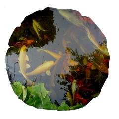 Koi Fish Pond Large 18  Premium Round Cushions by StarvingArtisan
