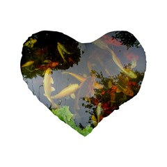 Koi Fish Pond Standard 16  Premium Heart Shape Cushions